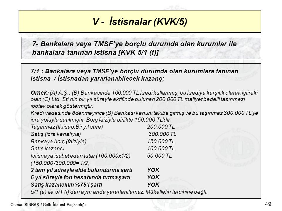 V - İstisnalar (KVK/5) 7- Bankalara veya TMSF'ye borçlu durumda olan kurumlar ile bankalara tanınan istisna [KVK 5/1 (f)]